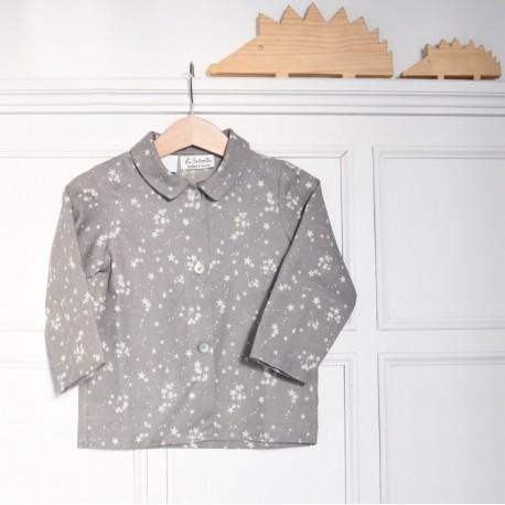 Camisa cuello ️️gris estrellas