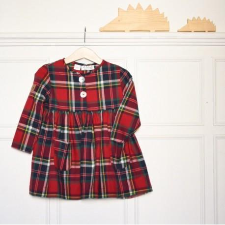 Vestido Escoces rojo botella