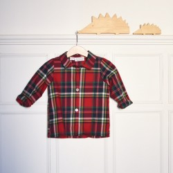 Camisa cuello Escocesa roja