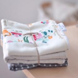 Pack mini toallas estrellas gris