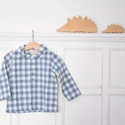 Camisa polera vichy azul