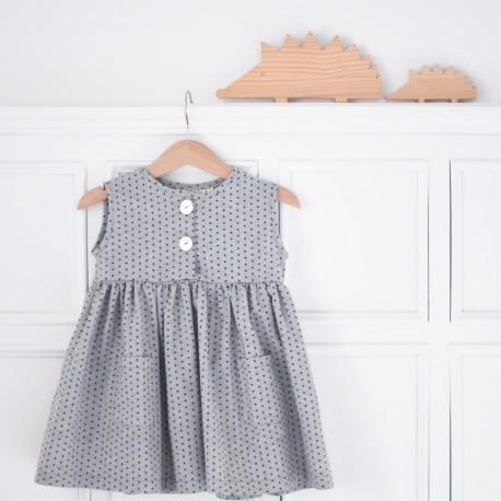 Vestido gris estrellitas -sin mangas-