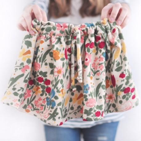 Falda beige flores