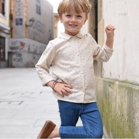 Camisa cuello Pompas beige