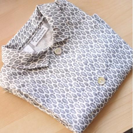 Camisa cuello Animal Print ️gris