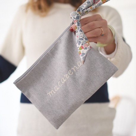 Bolsa mini gris + pañuelo