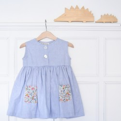 Vestido azul bolsillos flores-sin mangas-