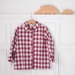 Camisa cuello vichy burdeos