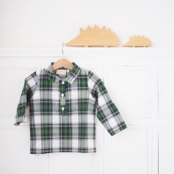 Camisa cuello escocesa verde-beige