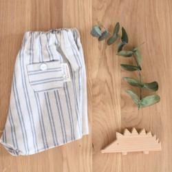 Pantalón lino rayas azules