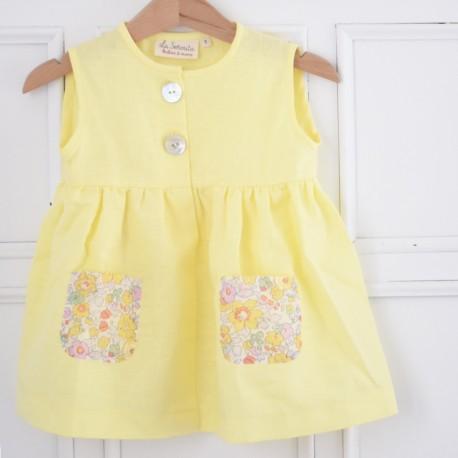 Vestido amarillo bolsillos flores-sin mangas-