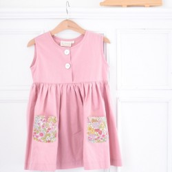Vestido rosa bolsillos flores-sin mangas-