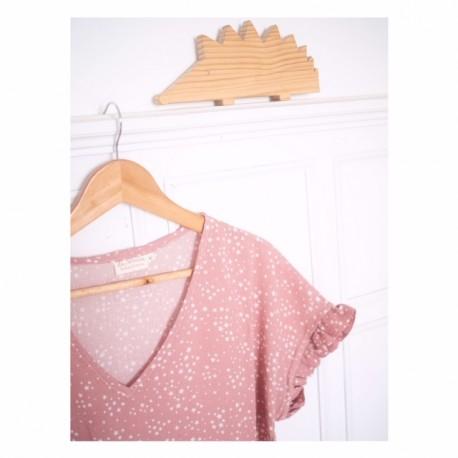 Blusa Mom&Me bambula rosa estrellas
