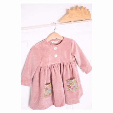 Vestido pana rosa bolsillos flores