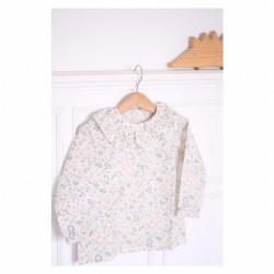 Camisa volante flores menta