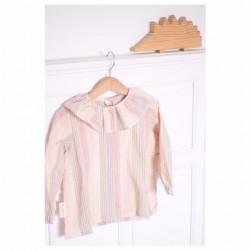 Camisa volante rayas rosas