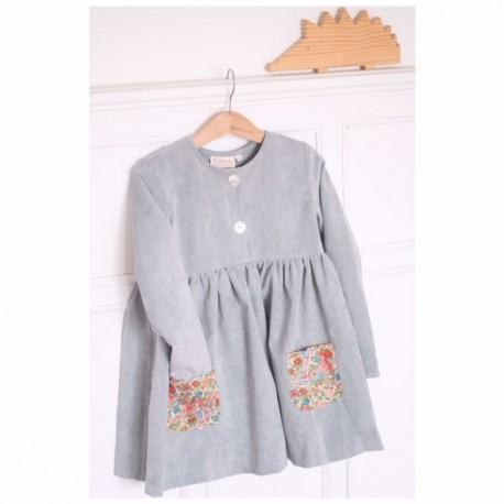 Vestido pana gris bolsillos flores