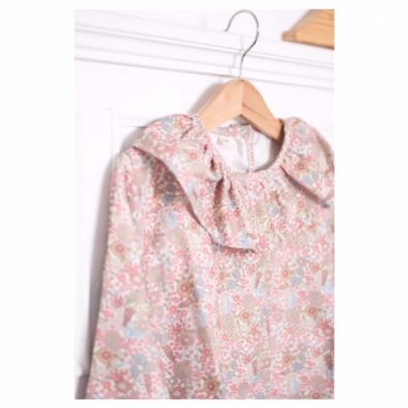 Camisa volante flores rosas