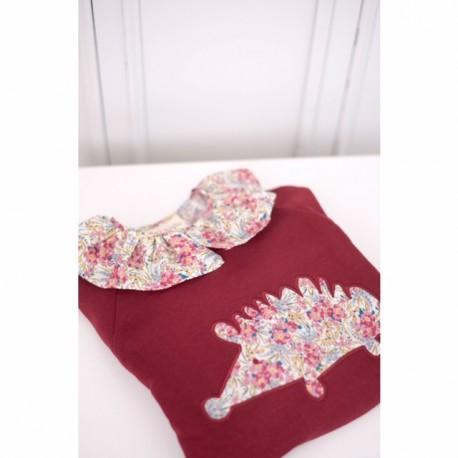 Cuello volante flores beige rosa-niña
